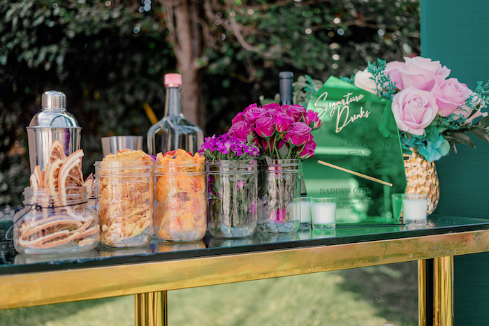 Modern Beverage Bar from a Modern Chic Gender Reveal Party on Kara's Party Ideas | KarasPartyIdeas.com