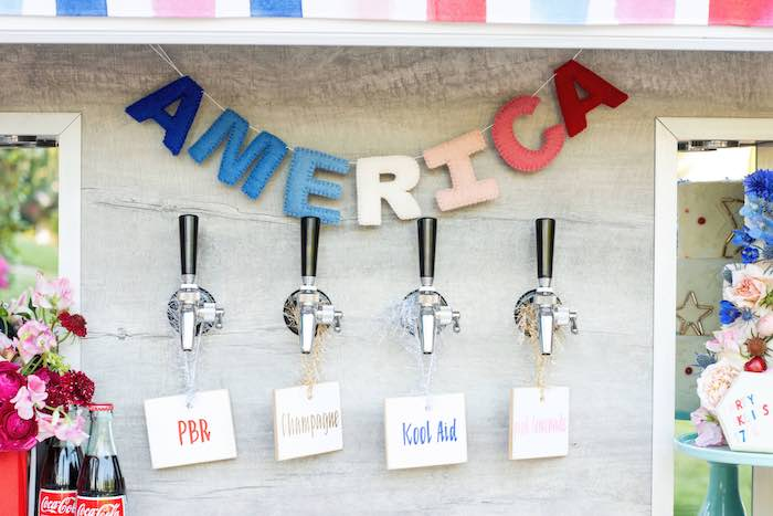 Beverage Taps from a Modern Americana 4th of July Party on Kara's Party Ideas | KarasPartyIdeas.com