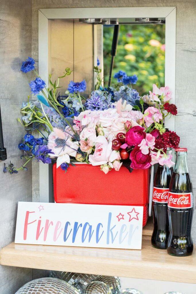 Firecracker Floral Arrangement from a Modern Americana 4th of July Party on Kara's Party Ideas | KarasPartyIdeas.com