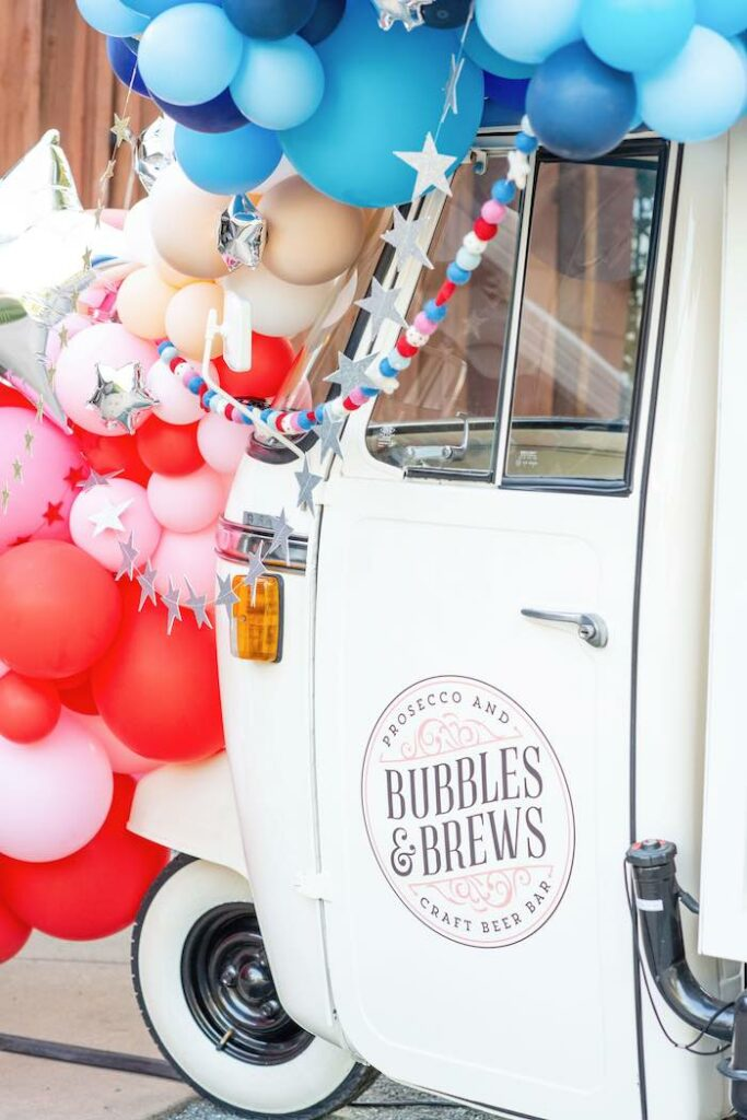 Bubbles & Brew Beverage Truck from a Modern Americana 4th of July Party on Kara's Party Ideas | KarasPartyIdeas.com