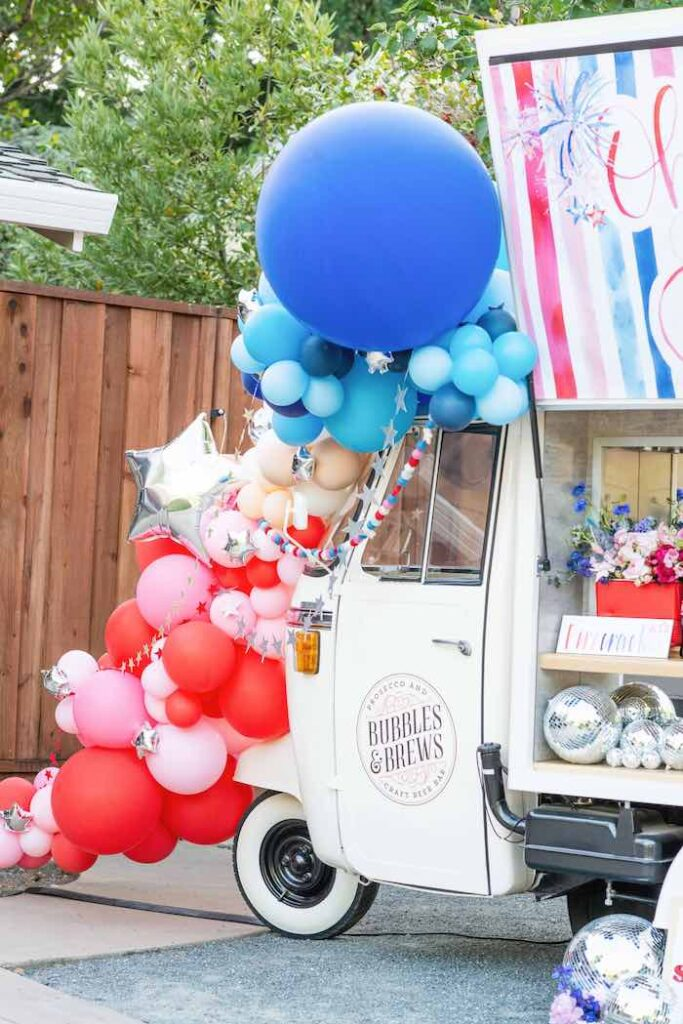 4th of July Balloon Garland from a Modern Americana 4th of July Party on Kara's Party Ideas | KarasPartyIdeas.com