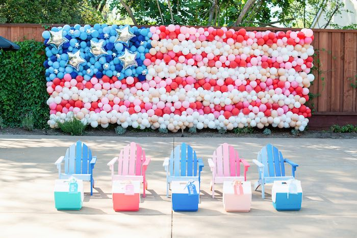 American Flag Balloon Install from a Modern Americana 4th of July Party on Kara's Party Ideas | KarasPartyIdeas.com