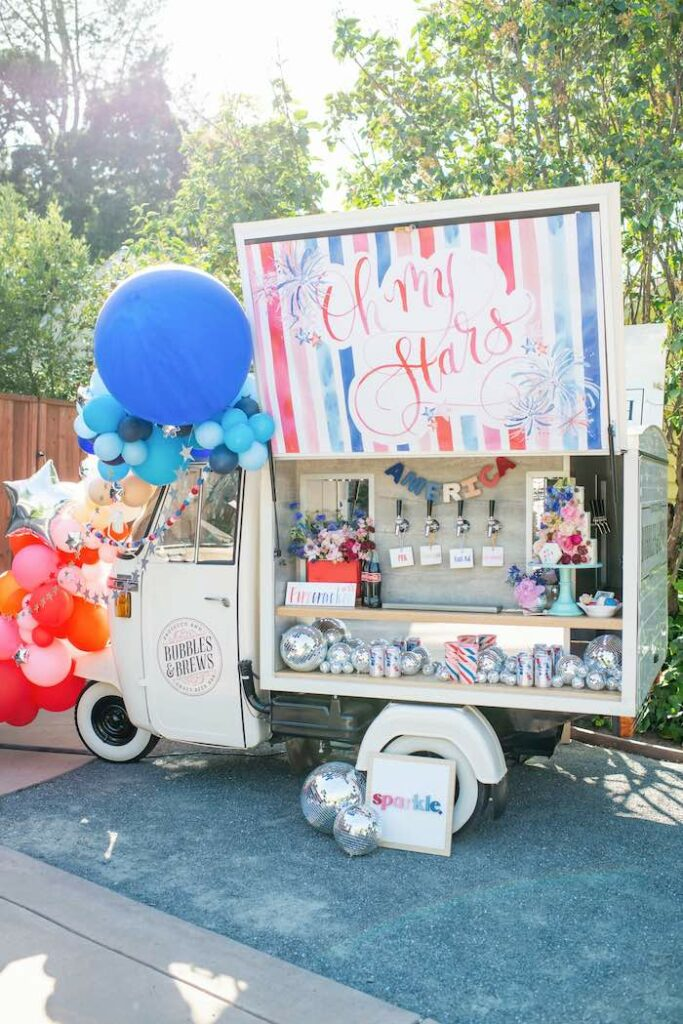 Oh My Stars Beverage Bar from a Modern Americana 4th of July Party on Kara's Party Ideas | KarasPartyIdeas.com