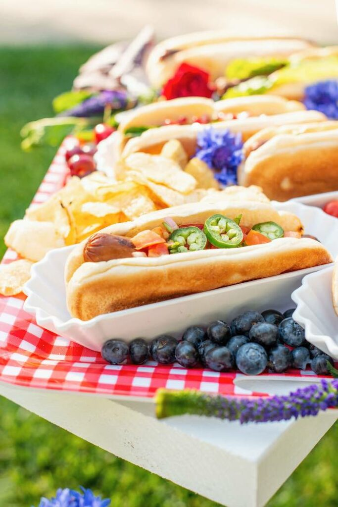 Gourmet Hot Dogs from a Modern Americana 4th of July Party on Kara's Party Ideas | KarasPartyIdeas.com