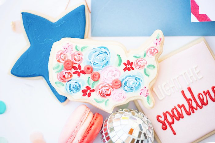 Floral United States Cookie from a Modern Americana 4th of July Party on Kara's Party Ideas | KarasPartyIdeas.com