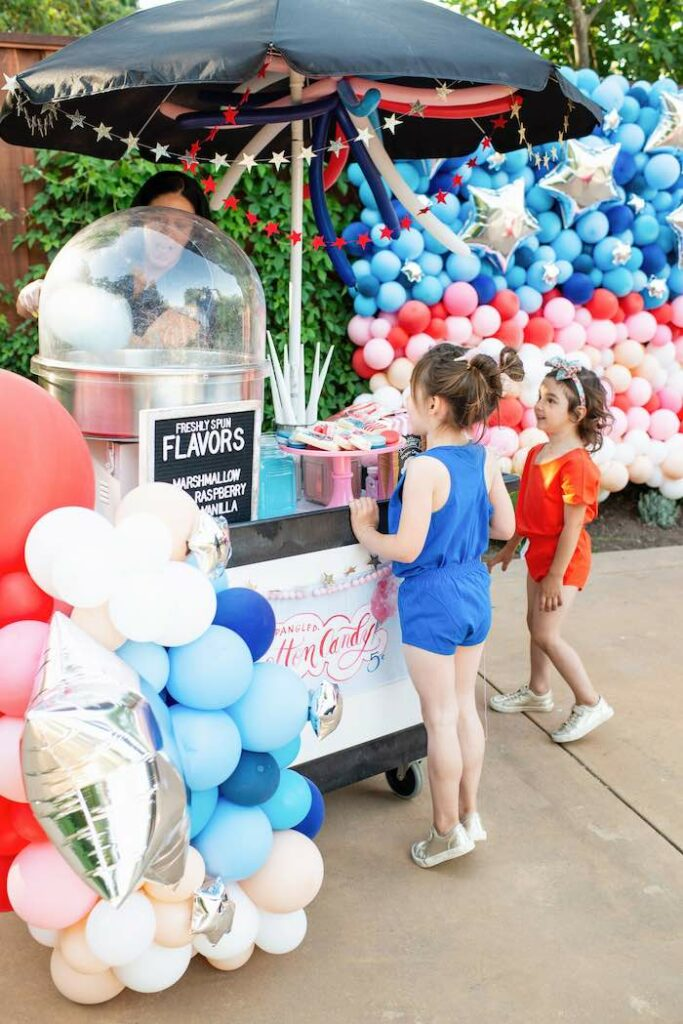 Cotton Candy Cart from a Modern Americana 4th of July Party on Kara's Party Ideas | KarasPartyIdeas.com