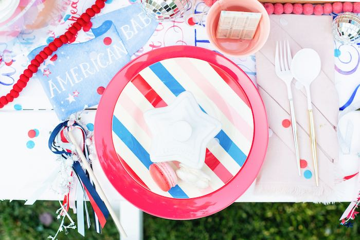4th of July Table Setting from a Modern Americana 4th of July Party on Kara's Party Ideas | KarasPartyIdeas.com