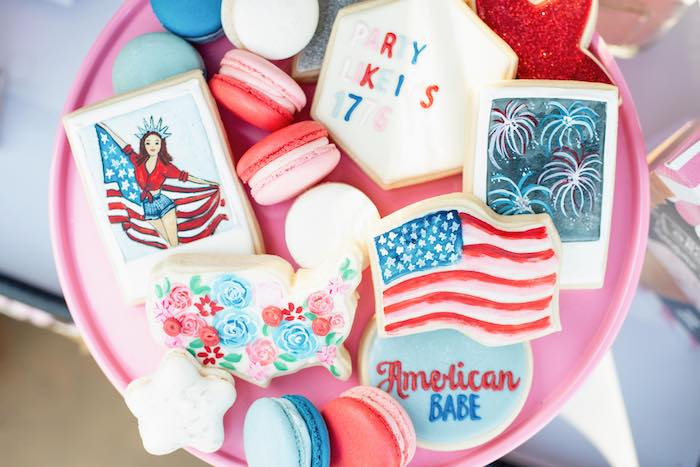 Americana Cookies from a Modern Americana 4th of July Party on Kara's Party Ideas | KarasPartyIdeas.com
