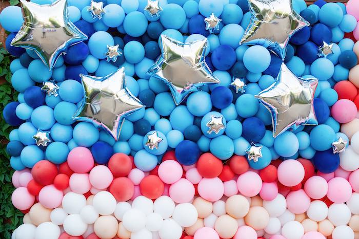 4th of July Balloon Flag from a Modern Americana 4th of July Party on Kara's Party Ideas | KarasPartyIdeas.com