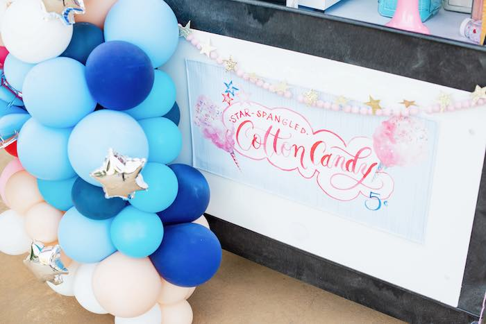 Cotton Candy Cart Signage from a Modern Americana 4th of July Party on Kara's Party Ideas | KarasPartyIdeas.com