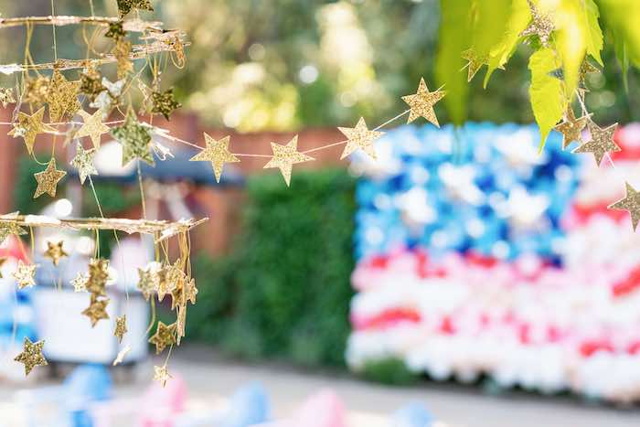 Gold Star Chandelier from a Modern Americana 4th of July Party on Kara's Party Ideas | KarasPartyIdeas.com