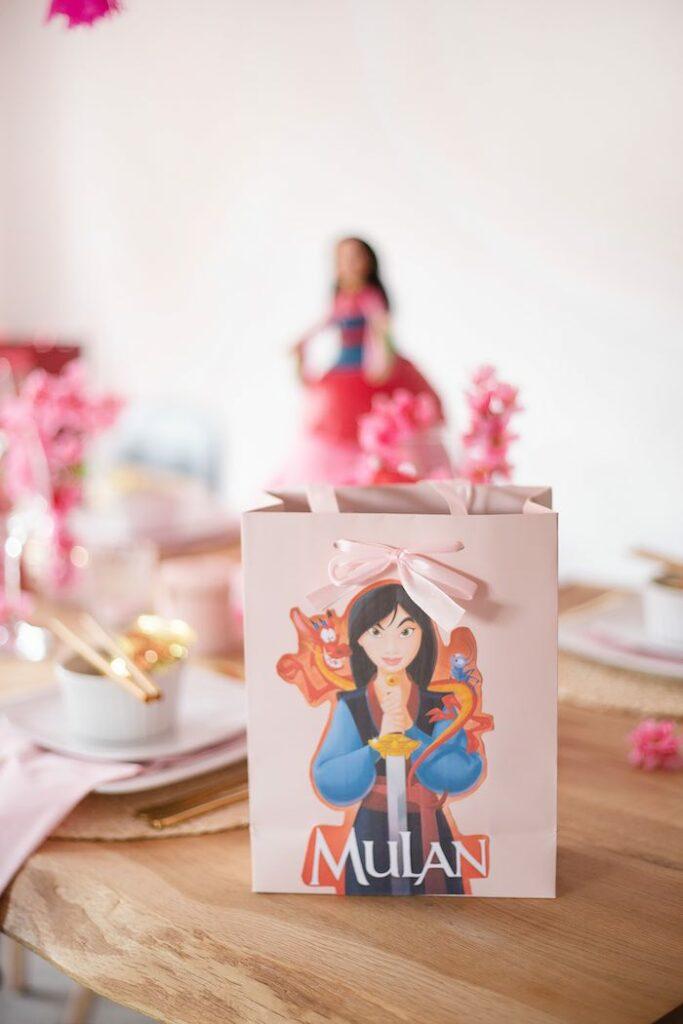 Mulan Gift Bag from a Mulan Birthday Party on Kara's Party Ideas | KarasPartyIdeas.com