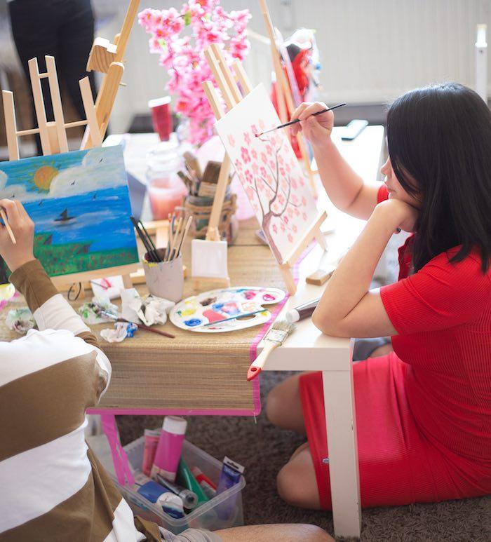 Art Table from a Mulan Birthday Party on Kara's Party Ideas | KarasPartyIdeas.com