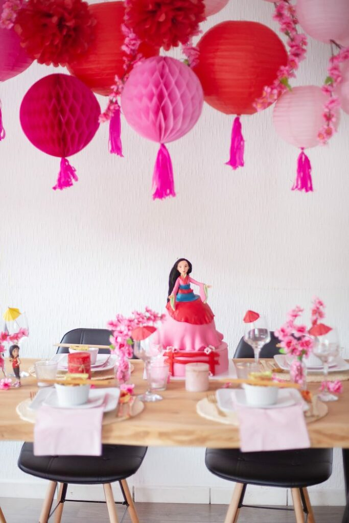 Mulan Themed Guest Table from a Mulan Birthday Party on Kara's Party Ideas | KarasPartyIdeas.com