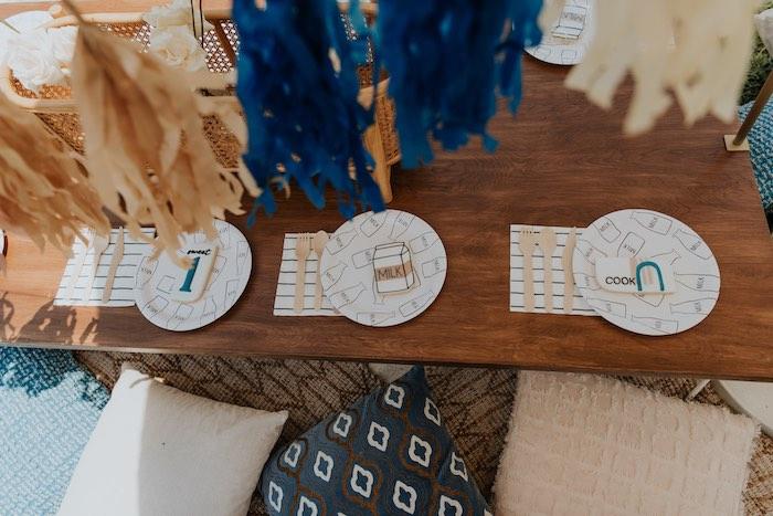 Modern Picnic Table from a Neutral Modern Milk & Cookies Party on Kara's Party Ideas | KarasPartyIdeas.com