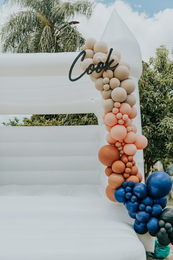 Custom Balloon Garland from a Neutral Modern Milk & Cookies Party on Kara's Party Ideas | KarasPartyIdeas.com