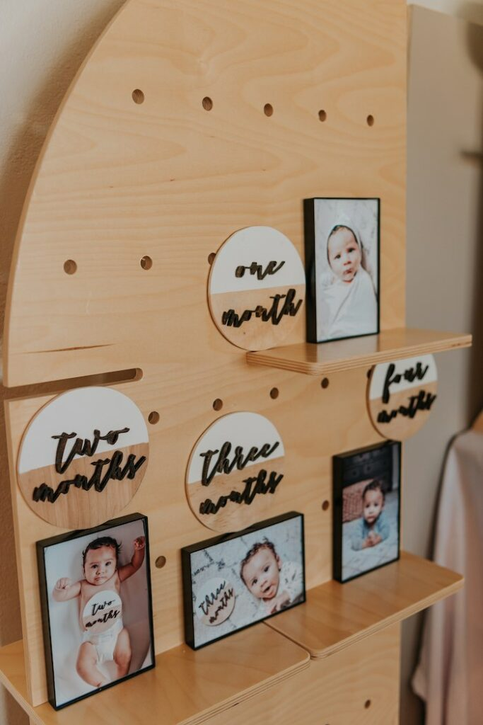 First Year Photo Board from a Neutral Modern Milk & Cookies Party on Kara's Party Ideas | KarasPartyIdeas.com