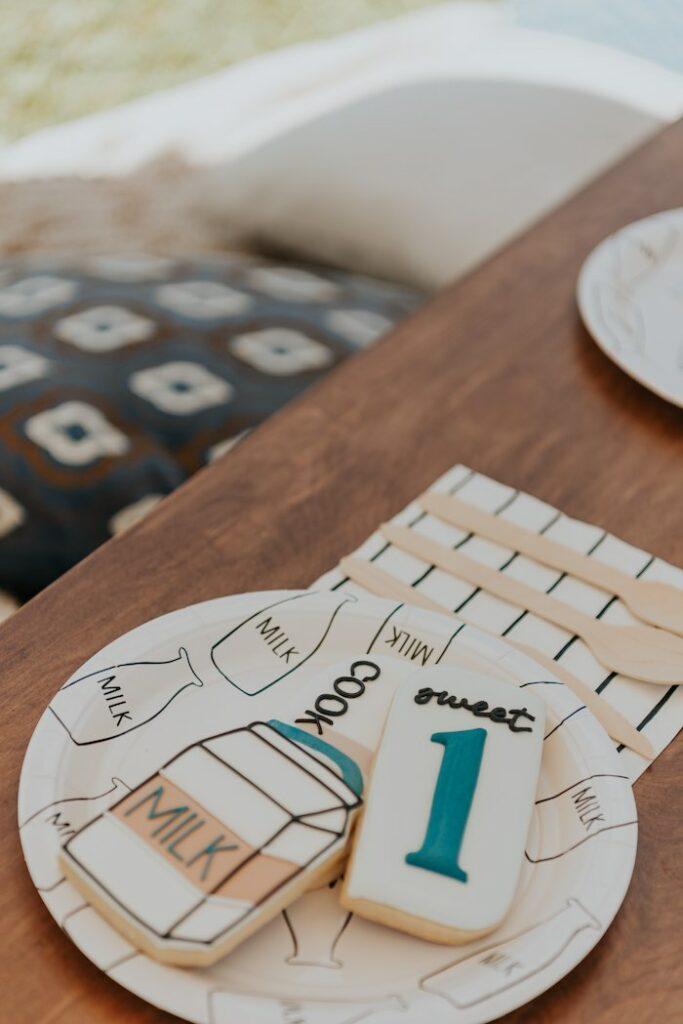 Cookies & Milk Cookies from a Neutral Modern Milk & Cookies Party on Kara's Party Ideas | KarasPartyIdeas.com