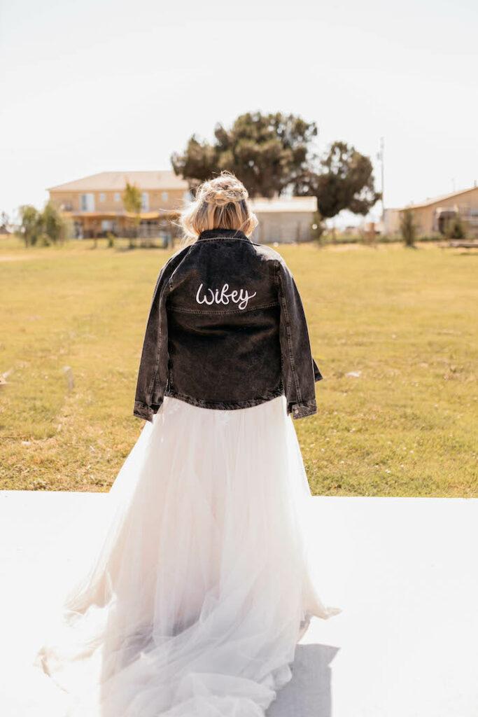 """Wifey"" Denim Jacket from a Rustic Boho Wedding on Kara's Party Ideas | KarasPartyIdeas.com"