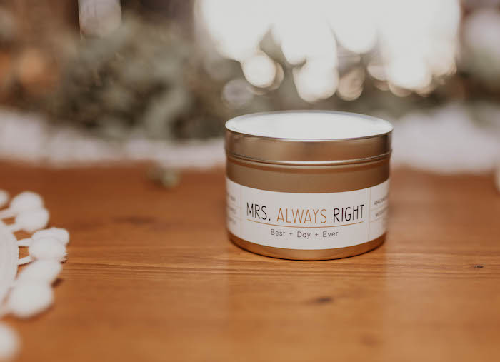 Mrs. Always Right-labeled Favor Candle from a Rustic Boho Wedding on Kara's Party Ideas | KarasPartyIdeas.com