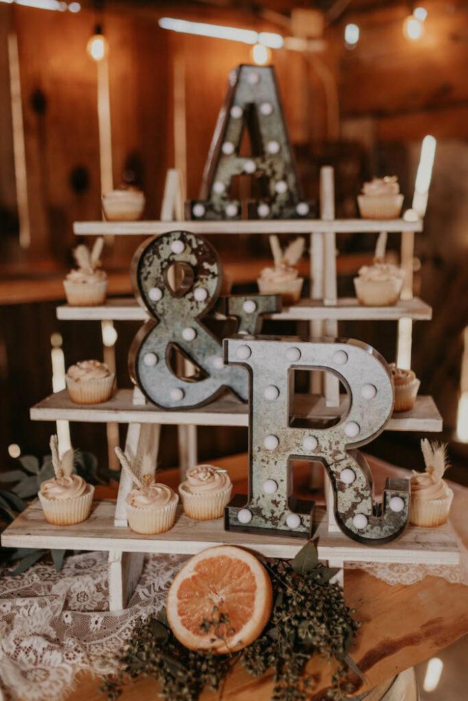 Rustic Boho Cupcake Dessert Shelf from a Rustic Boho Wedding on Kara's Party Ideas | KarasPartyIdeas.com