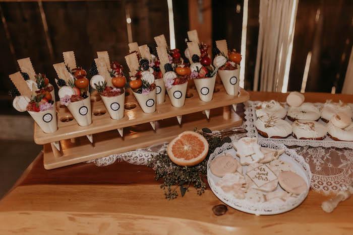 Food + Sweet Table from a Rustic Boho Wedding on Kara's Party Ideas | KarasPartyIdeas.com