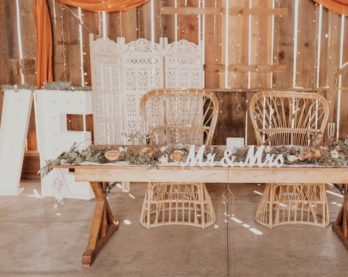 Rustic Boho Head Table from a Rustic Boho Wedding on Kara's Party Ideas | KarasPartyIdeas.com