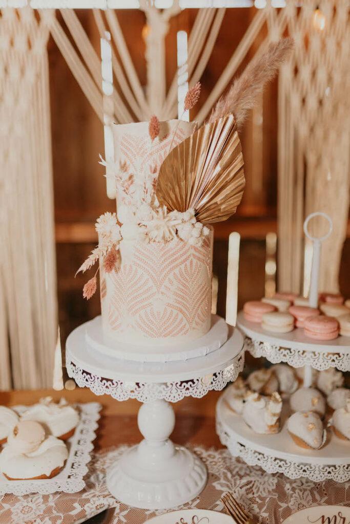 Boho Wedding Cake from a Rustic Boho Wedding on Kara's Party Ideas | KarasPartyIdeas.com