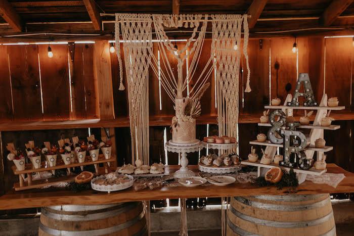 Boho Themed Sweet + Food Table from a Rustic Boho Wedding on Kara's Party Ideas | KarasPartyIdeas.com