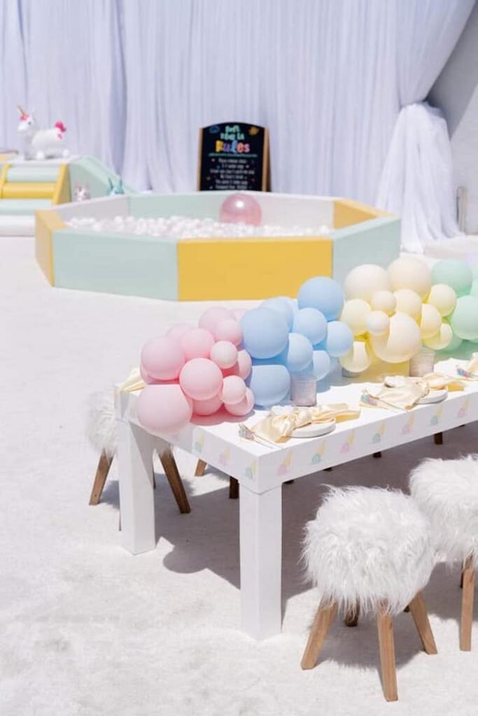 Pastel Kid Table from a Sweet Tooth Birthday Party on Kara's Party Ideas | KarasPartyIdeas.com