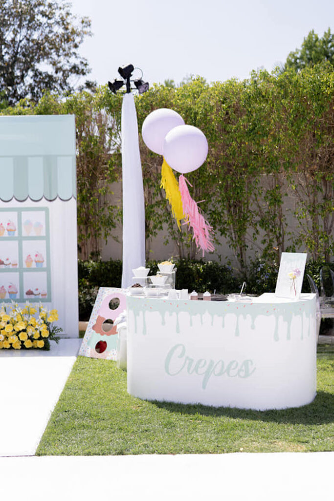Crepe Stand from a Sweet Tooth Birthday Party on Kara's Party Ideas | KarasPartyIdeas.com