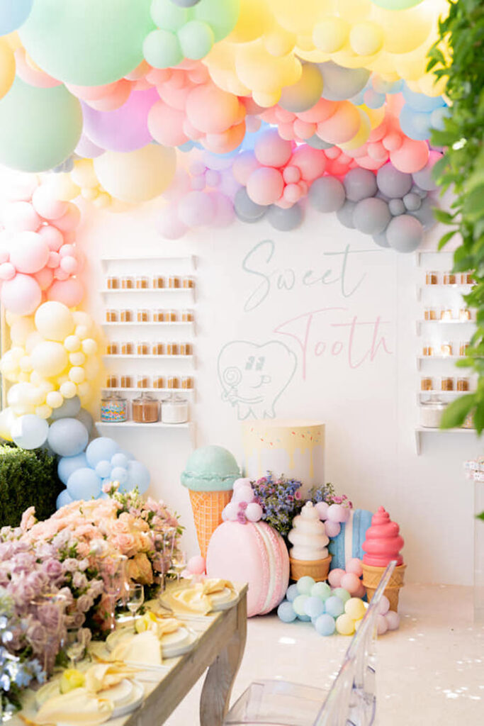 Sweet Tooth Dessert Wall from a Sweet Tooth Birthday Party on Kara's Party Ideas | KarasPartyIdeas.com