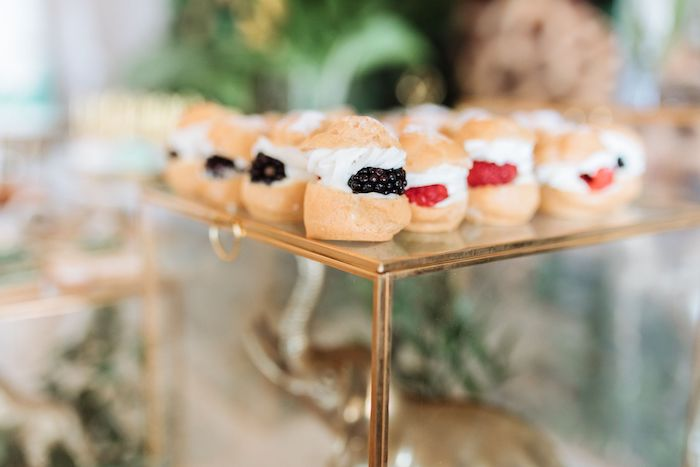Berry-filled Cream Puffs from a Wild ONE First Birthday Party on Kara's Party Ideas | KarasPartyIdeas.com