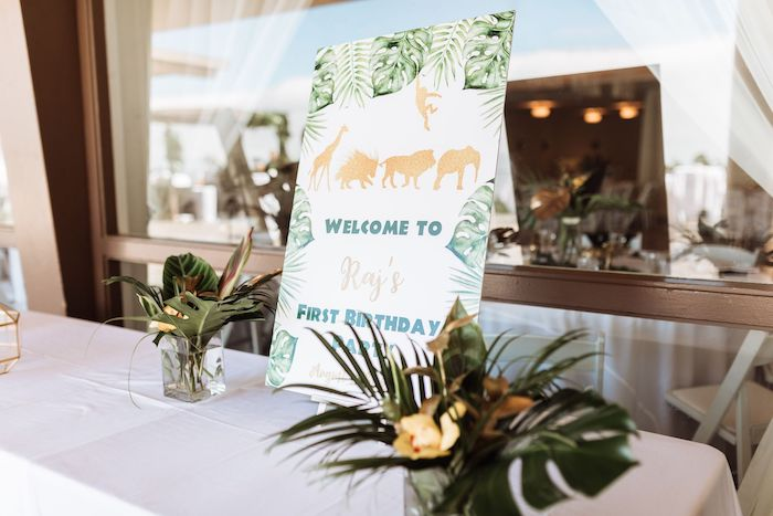 Safari Welcome Sign from a Wild ONE First Birthday Party on Kara's Party Ideas | KarasPartyIdeas.com