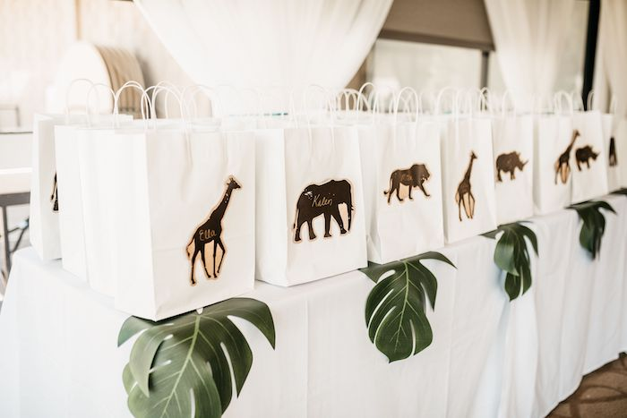 Personalized Safari Favor Bags from a Wild ONE First Birthday Party on Kara's Party Ideas | KarasPartyIdeas.com