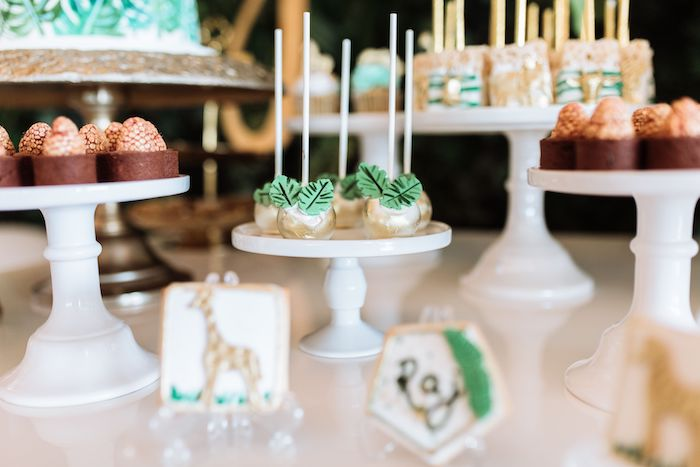 Jungle Leaf Cake Pops from a Wild ONE First Birthday Party on Kara's Party Ideas | KarasPartyIdeas.com