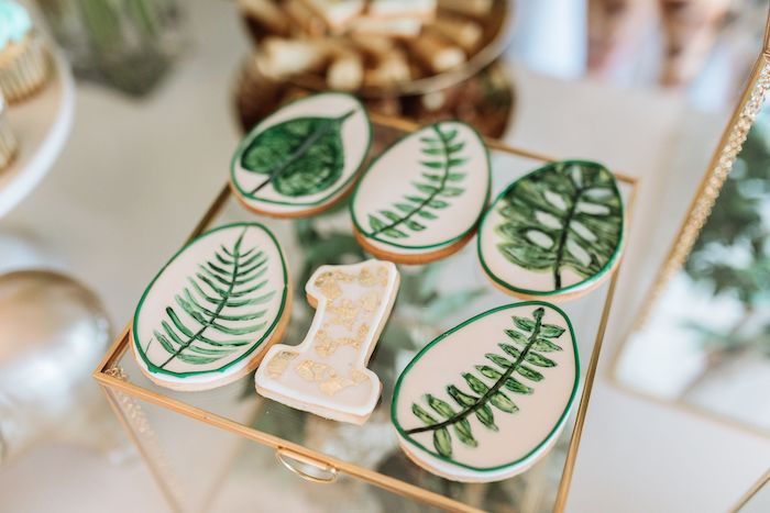 Jungle Leaf Cookies from a Wild ONE First Birthday Party on Kara's Party Ideas | KarasPartyIdeas.com