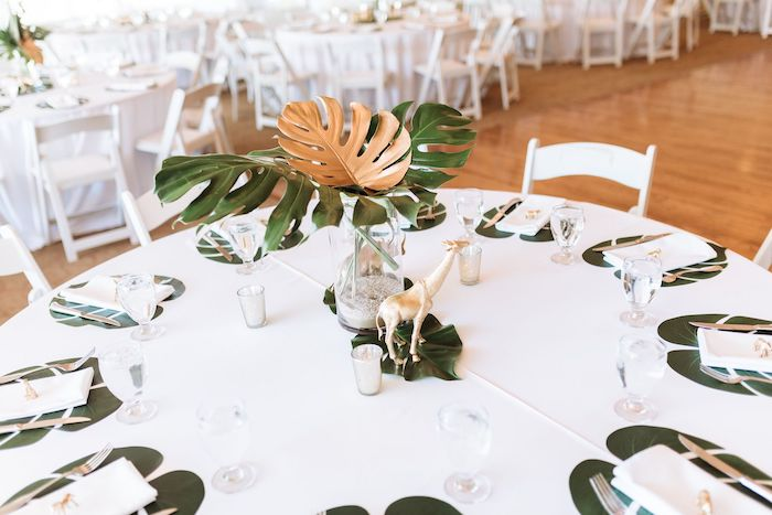 Safari Guest Table from a Wild ONE First Birthday Party on Kara's Party Ideas | KarasPartyIdeas.com