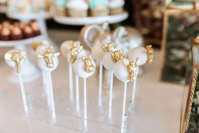 Glam Safari Animal Cake Pops from a Wild ONE First Birthday Party on Kara's Party Ideas | KarasPartyIdeas.com