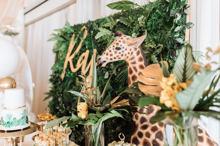 Jungle Leaf Backdrop from a Wild ONE First Birthday Party on Kara's Party Ideas | KarasPartyIdeas.com