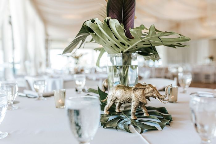 Jungle Table Centerpiece from a Wild ONE First Birthday Party on Kara's Party Ideas | KarasPartyIdeas.com