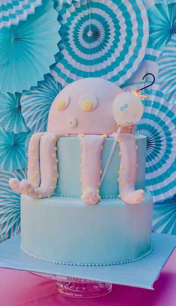 Octopus Cake from an Under the Sea Birthday Party on Kara's Party Ideas   KarasPartyIdeas.com