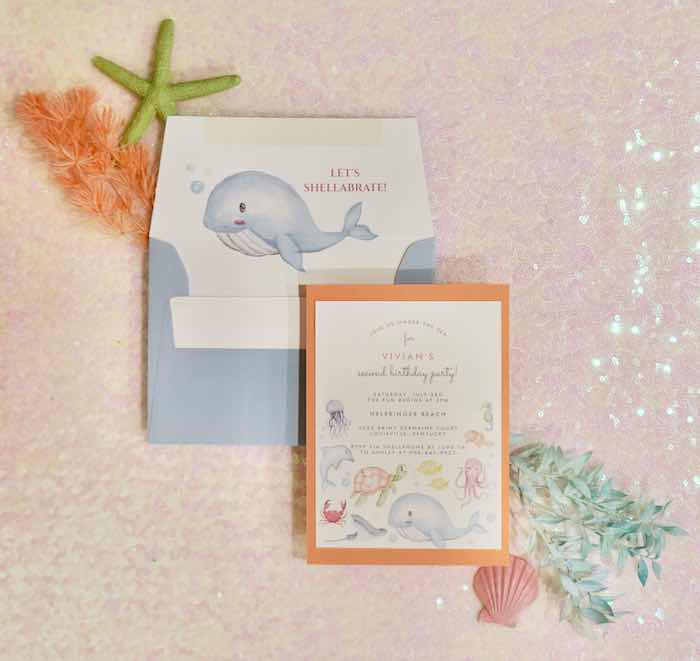 Under the Sea Party Invite from an Under the Sea Birthday Party on Kara's Party Ideas   KarasPartyIdeas.com