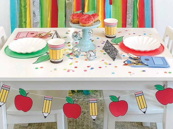 Back to School Kid Table from a 1st Day of School Breakfast Party on Kara's Party Ideas | KarasPartyIdeas.com
