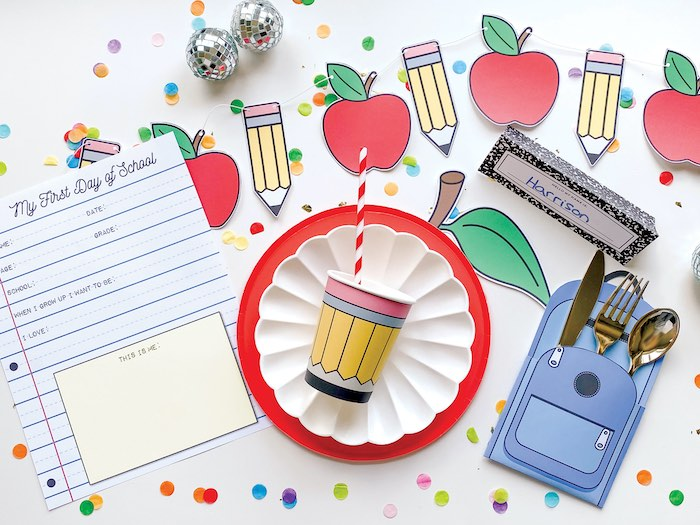 Back to School Table Setting from a 1st Day of School Breakfast Party on Kara's Party Ideas | KarasPartyIdeas.com