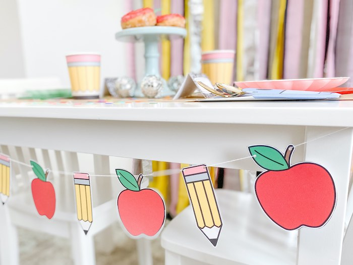 Back to School Banner from a 1st Day of School Breakfast Party on Kara's Party Ideas | KarasPartyIdeas.com