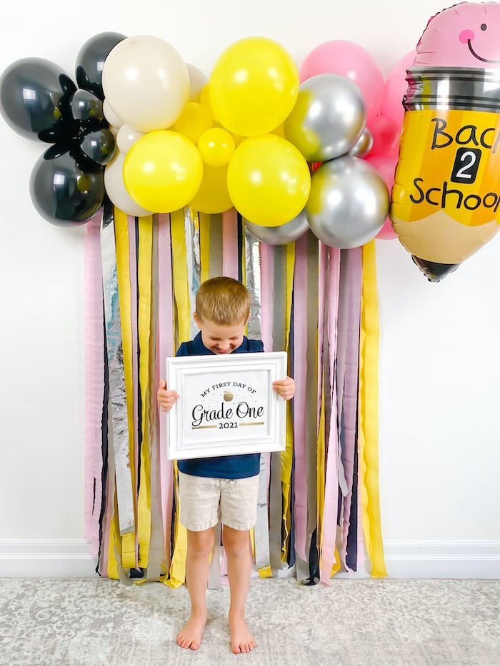 Back to School Photo Backdrop from a 1st Day of School Breakfast Party on Kara's Party Ideas | KarasPartyIdeas.com