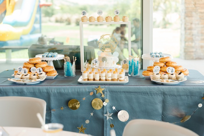 "Space themed dessert table from a ""1st Trip Around the Sun"" Stellar Birthday Party on Kara's Party Ideas | KarasPartyIdeas.com"