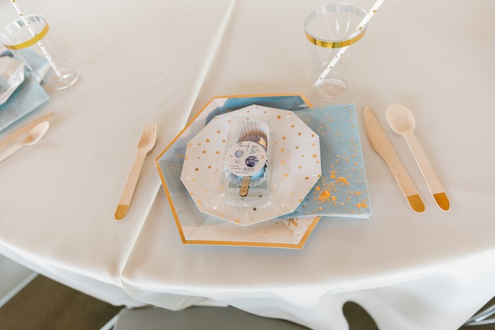 """Space Themed Table Setting from a """"1st Trip Around the Sun"""" Stellar Birthday Party on Kara's Party Ideas 