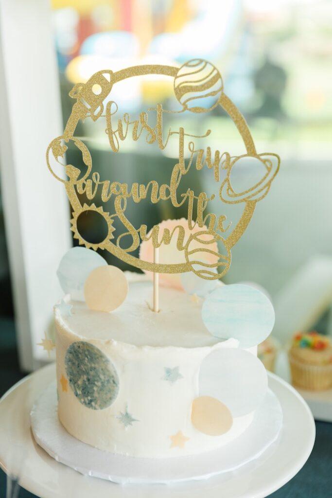 "Space Themed Birthday Cake from a ""1st Trip Around the Sun"" Stellar Birthday Party on Kara's Party Ideas | KarasPartyIdeas.com"